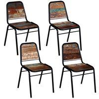 vidaXL Jedilni stoli 4 kosi iz trdnega predelanega lesa