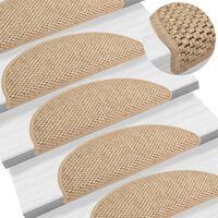 vidaXL Samolepilne preproge za stopnice sisal 15 kosov 56x20 cm pesek