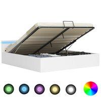 vidaXL Dvižni posteljni okvir LED belo umetno usnje 180x200 cm