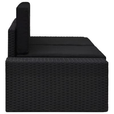 vidaXL Sekcijski kavč dvosed poli ratan črn