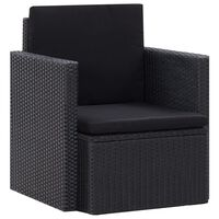 vidaXL Vrtni stol z blazinami poli ratan črne barve