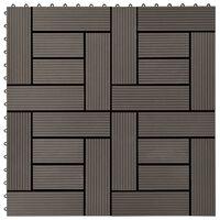 vidaXL Talne plošče 11 kosov WPC 30x30 cm 1 m² rjave barve