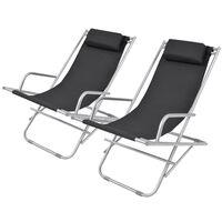 vidaXL Nastavljivi stoli 2 kosa jeklo črni