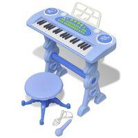 Otroški Sintisajzer s Stolčkom/Mikrofonom 37 Tipk Modre Barve