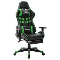 vidaXL Gaming stol z oporo za noge črno in zeleno umetno usnje
