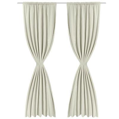 vidaXL Zatemnitvene zavese 2 kosa dvoslojne 140x175 cm kremne barve