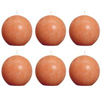 Bolsius Rustikalne okrogle sveče 80 mm oranžne 6 kosov