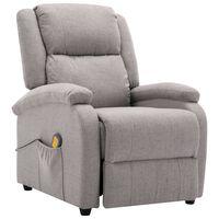 vidaXL Masažni fotelj svetlo sivo blago