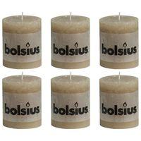 Bolsius Rustikalne stebričaste sveče 6 kosov 80x68 mm pastelno bež