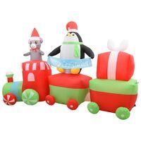 vidaXL Napihljiv božični vlak s pingvinom in miško LED IP44 350 cm