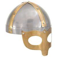 vidaXL Vikinška čelada starinska kopija LARP srebrno jeklo