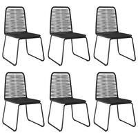 vidaXL Zunanji stoli 6 kosov poli ratan črne barve