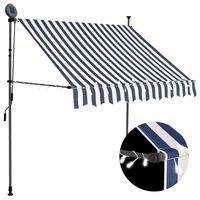 vidaXL Ročno zložljiva tenda z LED lučmi 200 cm modra in bela