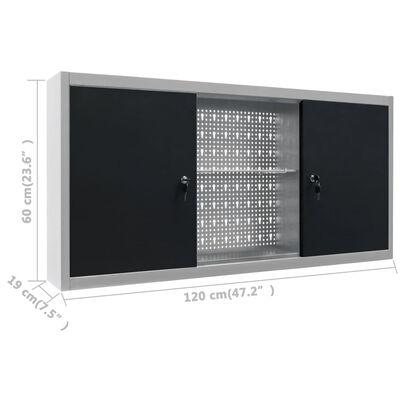 vidaXL Stenska omara za orodje industrijski stil kovinska siva in črna
