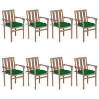vidaXL Vrtni stoli z blazinami 8 kosov trdna tikovina