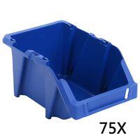 vidaXL Skladalni zaboji za shranjevanje 75 kosov 153x244x123 mm modri