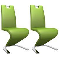 vidaXL Jedilni stoli cikcak oblike 2 kosa zeleno umetno usnje