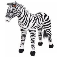 vidaXL Stoječa plišasta zebra črna in bela XXL