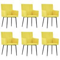 vidaXL Jedilni stoli z naslonjali za roke 6 kosov rumeno blago