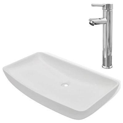 vidaXL Umivalnik z izmenično pipo keramika pravokotna bele barve
