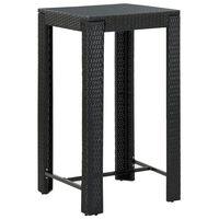 vidaXL Vrtna barska miza črna 60,5x60,5x110,5 cm poli ratan