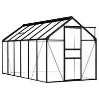 vidaXL Rastlinjak antraciten iz aluminija 7,03 m²