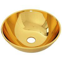 vidaXL Umivalnik 28x10 cm keramičen zlat