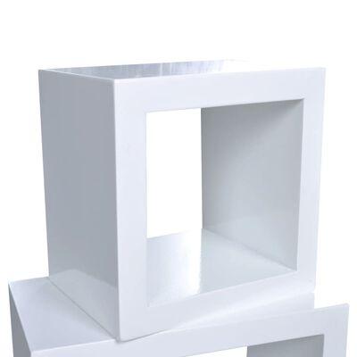 Stenski Regal Kocke Set 3 kosov Bela barva