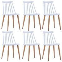vidaXL Jedilni stoli 6 kosov bela plastika