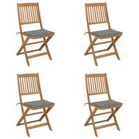 vidaXL Zložljivi vrtni stoli 4 kosi z blazinami trden akacijev les