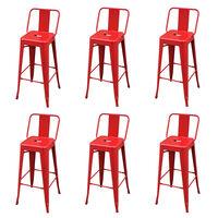 vidaXL Barski stolčki 6 kosov rdeče jeklo