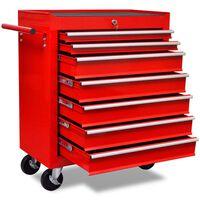 Rdeč delavniški voziček za shranjevanje orodja s 7 predali