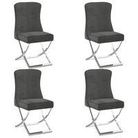 vidaXL Jedilni stoli 4 kosi sivi 53x52x98 cm žamet in nerjaveče jeklo