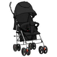 vidaXL Zložljiv otroški voziček 2 v 1 črn jeklen