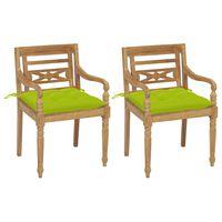 vidaXL Batavia stoli 2 kosa s svetlo zelenimi blazinami trdna tikovina