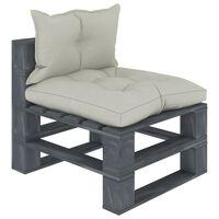 vidaXL Vrtni sredinski kavč iz palet z bež blazinami lesen