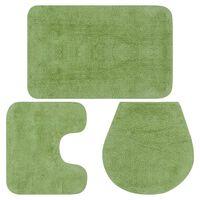 vidaXL Kopalniške preproge 3 kosi blago zelene barve