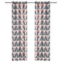 vidaXL Zavese z obročki 2 kosa bombaž 140x245 cm sive in roza