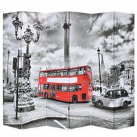 vidaXL Zložljiv paravan 228x170 cm londonski avtobus črn in bel