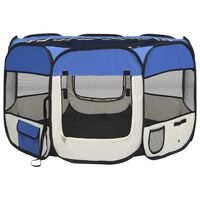 vidaXL Zložljiva pasja ograjica s torbo modra 110x110x58 cm