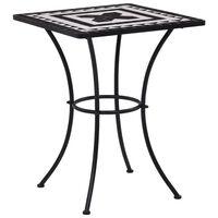 vidaXL Bistro mizica z mozaikom črna in bela 60 cm keramika