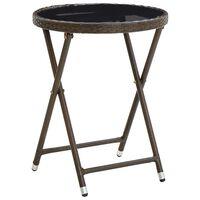 vidaXL Čajna mizica rjava 60 cm poli ratan in kaljeno steklo