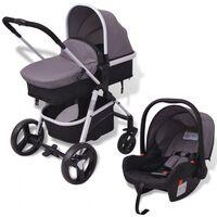 vidaXL Otroški voziček 3 v 1 aluminijast sive in črne barve