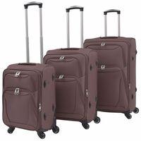 vidaXL 3 delni komplet mehkih potovalnih kovčkov kavne barve