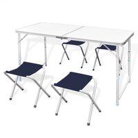 Zložljiv set za kampiranje miza z nastavljivo višino 120x60cm in 4stol