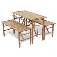 vidaXL Pivska miza z 2 klopema 100 cm bambus
