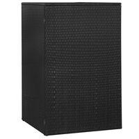 vidaXL Lopa za smetnjak črna 76x78x120 cm poli ratan