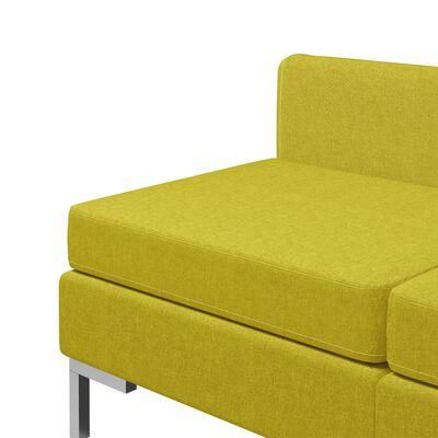 vidaXL Sekcijski sredinski kavči 3 kosi z blazinami blago rumeni