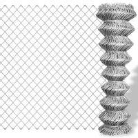 vidaXL Mrežna ograja pocinkano jeklo 15x0,8 m srebrna