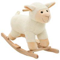 vidaXL Gugalna žival ovčka iz pliša 78x34x58 cm bela